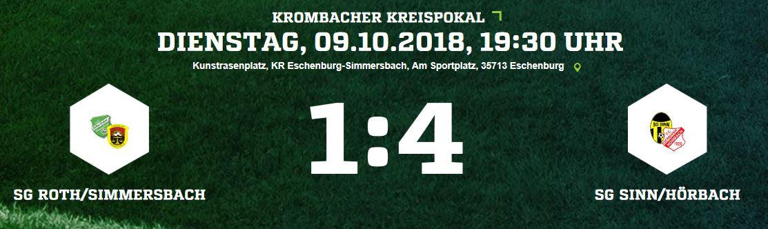 SG Ro/Si verliert im Pokal Achtelfinale gegen Sinn/Hörbach